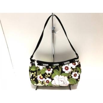 【中古】 レスポートサック LESPORTSAC ハンドバッグ 黒 白 マルチ 花柄 レスポナイロン
