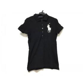 【中古】 ラルフローレン RalphLauren 半袖ポロシャツ サイズL レディース ビッグポニー 黒 白 ビーズ