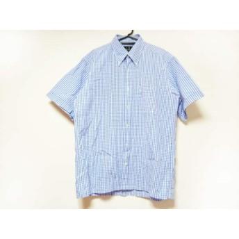 【中古】 ダンヒル dunhill/ALFREDDUNHILL 半袖シャツ サイズL メンズ 美品 ブルー 白 チェック柄
