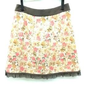 【中古】 アプワイザーリッシェ ミニスカート サイズ2 M レディース ベージュ ピンク マルチ