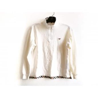 【中古】 ダックス DAKS 長袖ポロシャツ サイズM レディース アイボリー ライトブラウン