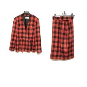 【中古】 ハナエモリ HANAE MORI スカートスーツ サイズ9A3 レディース レッド 黒 チェック柄/フリル