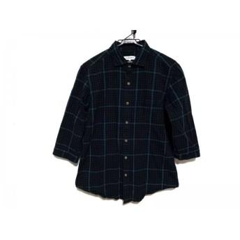 【中古】 ザ ショップ ティーケー 長袖シャツ サイズL メンズ ダークグリーン 黒 ブルー チェック柄