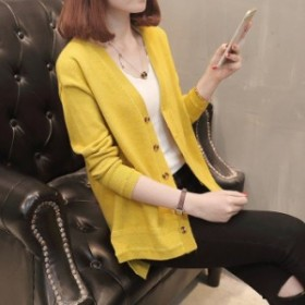 カーディガン レディース ロング丈 無地 アウター ニットソー オフィス カジュアル コート 著痩せ効果 大きいサイズ 2018