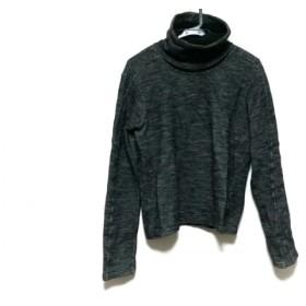 【中古】 バレンシアガ BALENCIAGA 長袖セーター サイズXS メンズ 黒 ライトグレー タートルネック