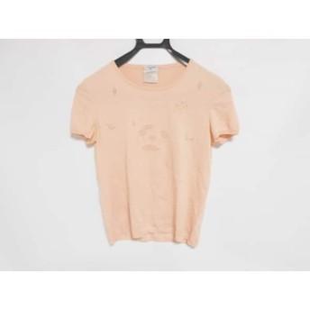 【中古】 シャネル CHANEL 半袖セーター サイズ38 M レディース サーモンピンク カメリア