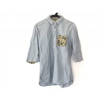 【中古】 ザ ショップ ティーケー 七分袖シャツ サイズL メンズ ライトブルー マルチ