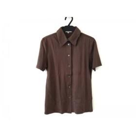 【中古】 セリーヌ CELINE 半袖シャツブラウス サイズ38 M レディース 美品 ブラウン