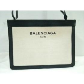 【中古】 バレンシアガ ショルダーバッグ ネイビーポシェット 339937 黒 アイボリー レザー キャンバス