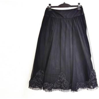 【中古】 ヒロココシノ HIROKO KOSHINO スカート サイズ38 M レディース 黒 チュール/刺繍/スパンコール