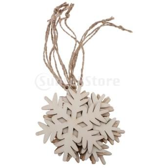 6個 クリスマスツリー 装飾 木製 ペンダント クリスマスツリー装飾 DIY ジュートロープ 飾り ぶら下げ 5タイプ - 雪の華