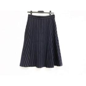 【中古】 ダイアグラム スカート サイズ38 M レディース 美品 ネイビー 白 ストライプ