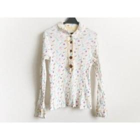 【中古】 ツモリチサト 長袖ポロシャツ サイズ2 M レディース 白 ライトブルー マルチ プリーツ
