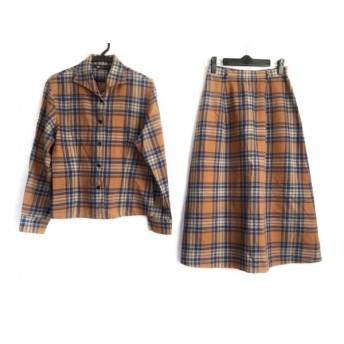 【中古】 ヨークランド スカートセットアップ サイズ9 M レディース ブラウン ネイビー アイボリー