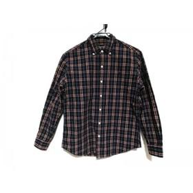 【中古】 ジムフレックス Gymphlex 長袖シャツ サイズ14 メンズ ネイビー ボルドー 白 チェック柄