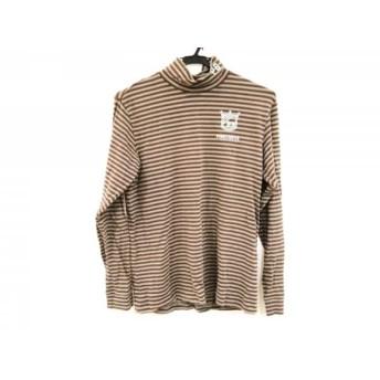【中古】 パーリーゲイツ 長袖Tシャツ サイズ4 XL メンズ ブラウン カーキ ハイネック/ボーダー