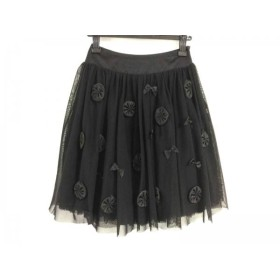 【中古】 ロイスクレヨン Lois CRAYON スカート サイズM レディース 美品 黒 チュール/リボン