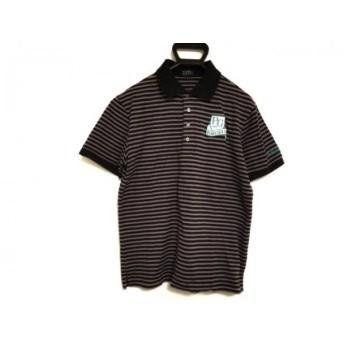 【中古】 パーリーゲイツ PEARLY GATES 半袖ポロシャツ サイズ6 メンズ グレー 黒 ボーダー