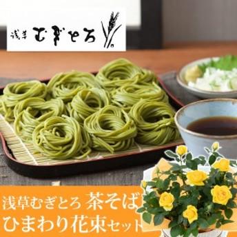 【父の日フラワーギフト】 鉢植えセット「浅草むぎとろ 茶そば」