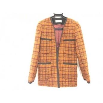 【中古】 ギラロッシュ Guy Laroche コート サイズ40 M レディース オレンジ 黒 マルチ ツイード/冬物
