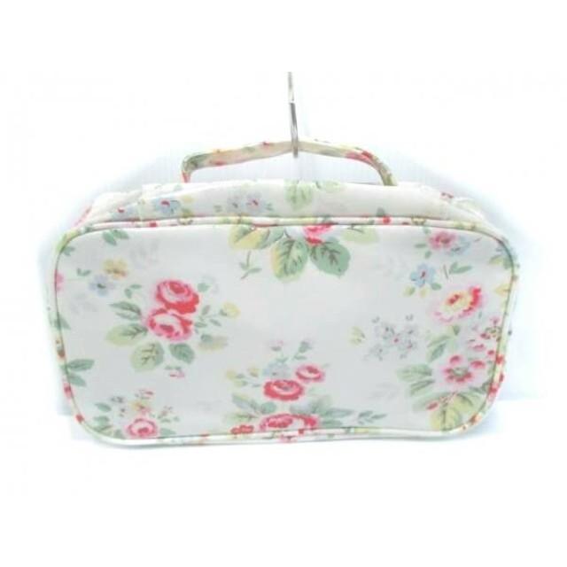 【中古】 キャスキッドソン ハンドバッグ アイボリー レッド マルチ 花柄 コーティングキャンバス