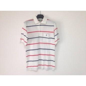 【中古】 マンシングウェア 半袖ポロシャツ サイズ1 S メンズ アイボリー レッド ネイビー ボーダー