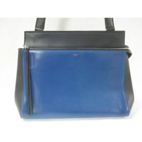 【中古】 セリーヌ CELINE ハンドバッグ 美品 エッジ 黒 ブルー バイカラー レザー