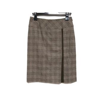 【中古】 ニジュウサンク 23区 スカート サイズ38 M レディース ブラウン ベージュ グレー チェック柄