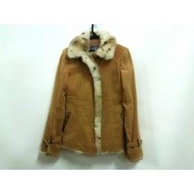 【中古】 バーバリーブルーレーベル コート サイズ38 M レディース ブラウン フェイクファー/冬物