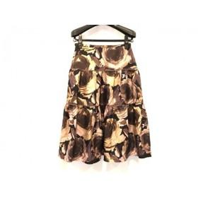 【中古】 スキャパ Scapa スカート サイズ38 L レディース 美品 ブラウン ピンク マルチ
