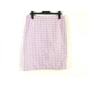 【中古】 ローズティアラ Rose Tiara スカート サイズ46 XL レディース パープル アイボリー チェック柄
