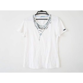 【中古】 ギルドプライム 半袖Tシャツ サイズ36 S レディース 白 ライトブルー マルチ プリント