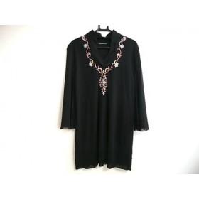 【中古】 ヴィヴィアンタム ワンピース サイズ1 S レディース 黒 ピンク マルチ ビジュー/メッシュ/刺繍
