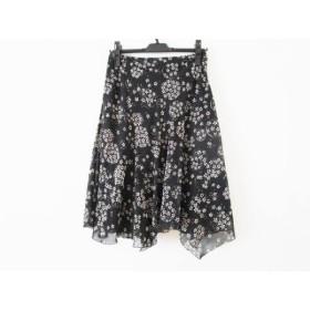 【中古】 ニジュウサンク 23区 スカート サイズ38 M レディース 黒 アイボリー 花柄
