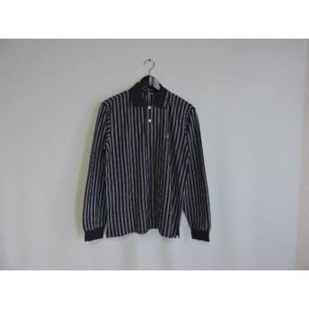 【中古】 パーリーゲイツ 長袖ポロシャツ サイズ2 M メンズ 美品 ネイビー 白 ストライプ/GOLF