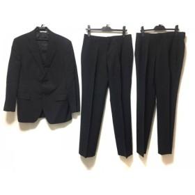 【中古】 ダーバン シングルスーツ メンズ ダークネイビー ストライプ/肩パッド/3点セット/ネーム刺繍