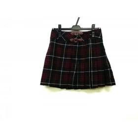 【中古】 バーバリーブルーレーベル 巻きスカート サイズ38 M レディース 黒 レッド 白 チェック柄