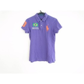 【中古】 ラルフローレン 半袖ポロシャツ サイズM レディース ビッグポニー パープル グリーン マルチ