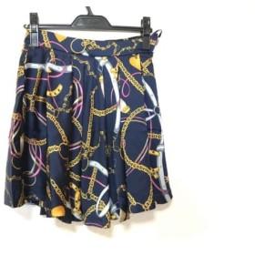 【中古】 アプワイザーリッシェ ミニスカート サイズ2 M レディース 美品 ネイビー ゴールド マルチ