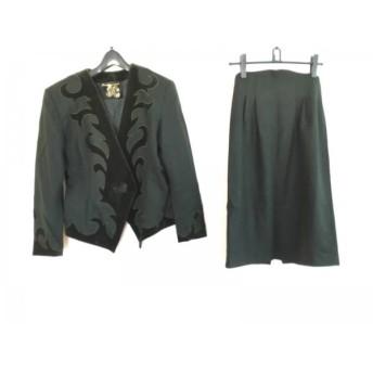 【中古】 イタリヤ 伊太利屋/GKITALIYA スカートスーツ レディース 美品 モスグリーン グリーン