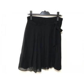【中古】 サルバトーレフェラガモ 巻きスカート サイズ40 M レディース 黒 プリーツ/シルク