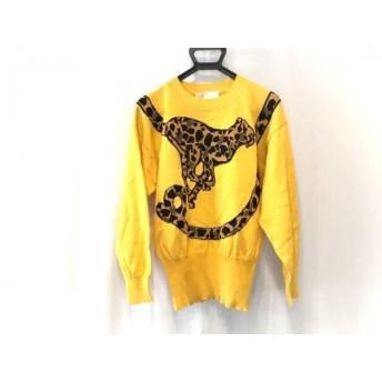 【中古】 エスカーダ ESCADA 長袖セーター サイズ38 L レディース 美品 イエロー ベージュ マルチ