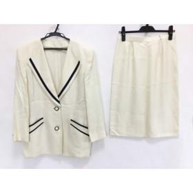 【中古】 レリアン Leilian スカートスーツ サイズ9 M レディース アイボリー ネイビー 肩パッド