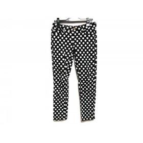 【中古】 ケイトスペード パンツ サイズ25 XS レディース M61730 黒 白 ライトグリーン りんご柄