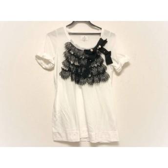 【中古】 ランバンオンブルー 半袖Tシャツ サイズ38 M レディース 白 黒 レース/リボン/フェイクパール