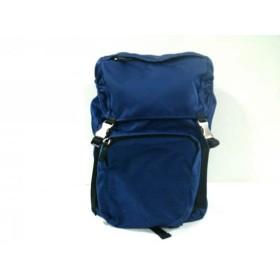 【中古】 プラダ PRADA リュックサック 美品 - V135 ブルー 黒 ナイロン