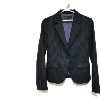 【中古】 アンタイトル UNTITLED ジャケット サイズ2 M レディース 黒 ライトグレー ストライプ