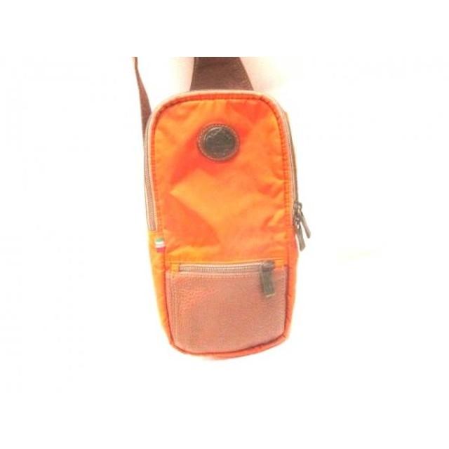 【中古】 オロビアンコ OROBIANCO ワンショルダーバッグ オレンジ ダークブラウン ナイロン レザー