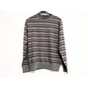 【中古】 アラミス ARAMIS 長袖セーター サイズM メンズ 美品 グレー レッド マルチ ボーダー