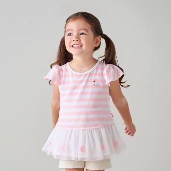 ミキハウス リーナちゃん チュール付きボーダー半袖Tシャツ ピンク